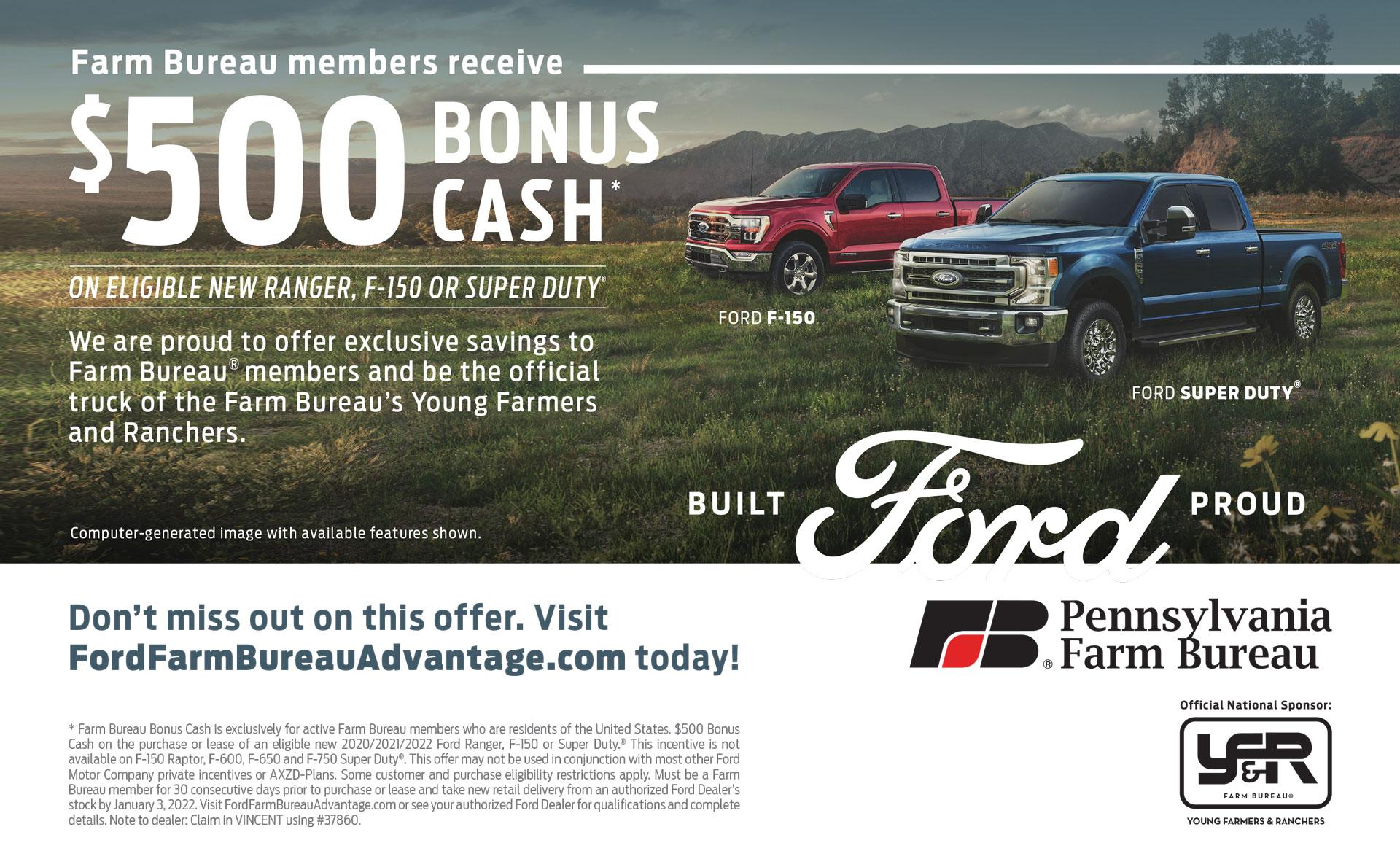 $500 Cash back Ford ad