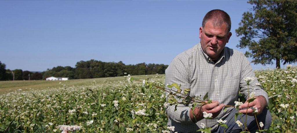 Ben Peckman Franklin County Farm Bureau member in field