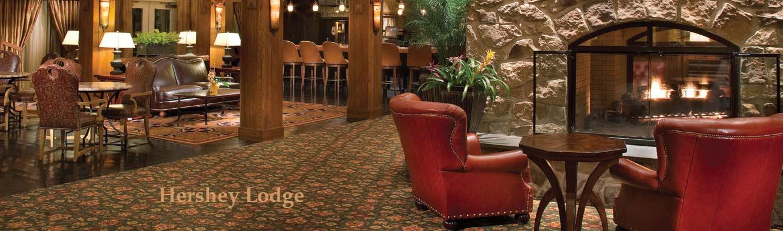 Hershey Lodge lobby fireplace and